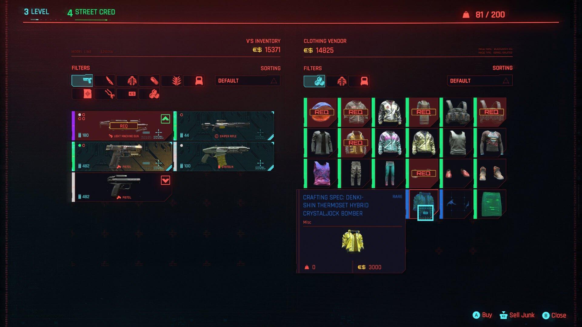 Cyberpunk 2077 Herstellungsspezifikationen