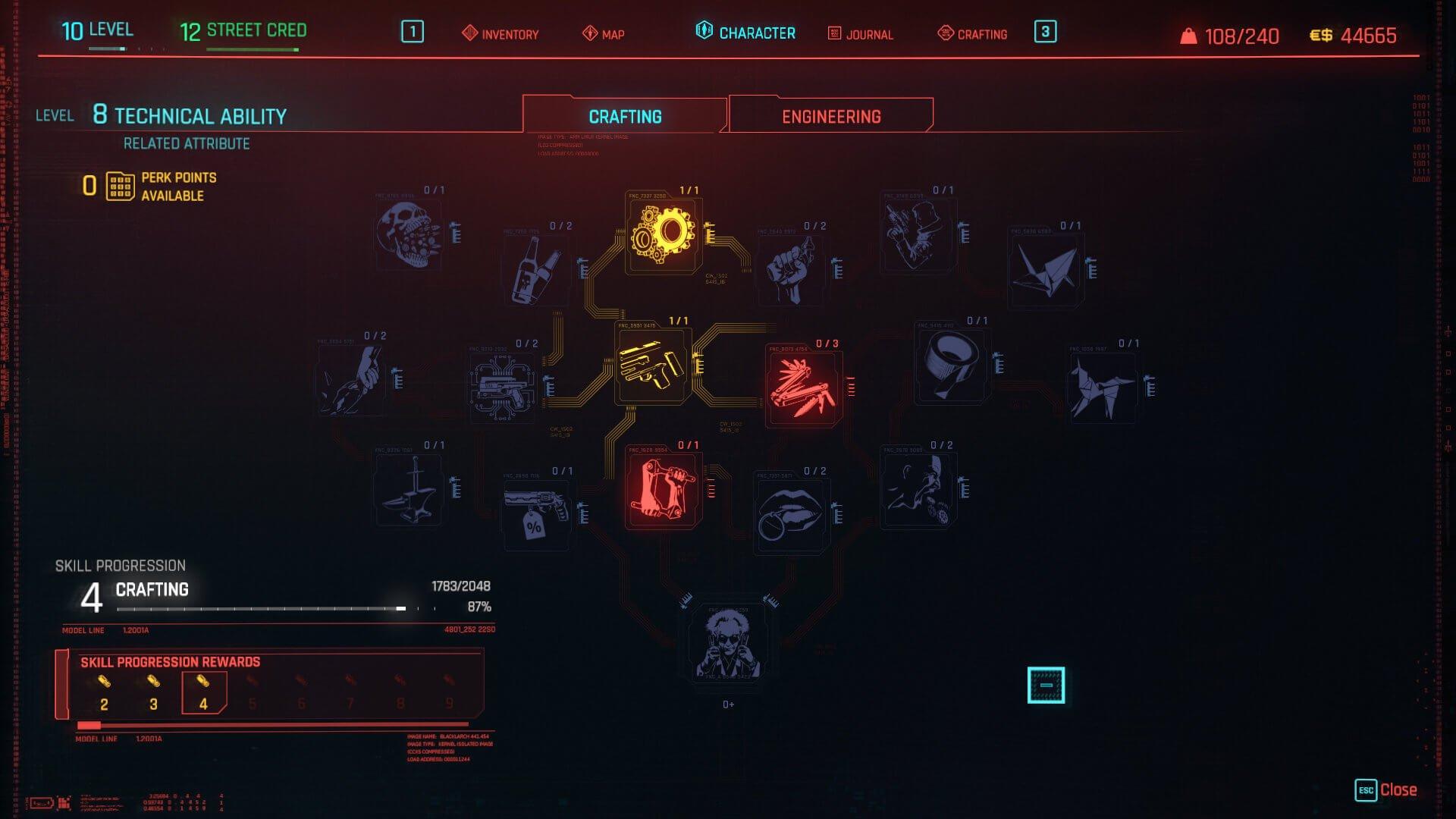 Cyberpunk 2077 Crafting Perk Tree