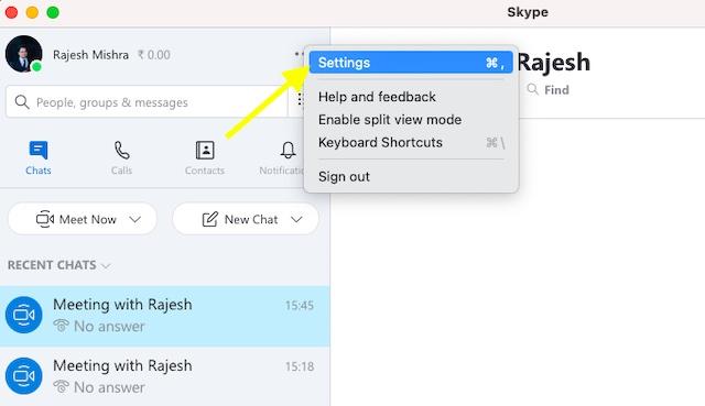 Wählen Sie in Skype die Option Einstellungen