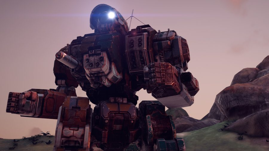 a profile of a mech with a shoulder mounted missile launcher