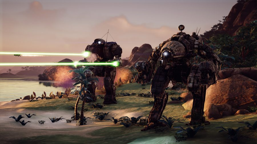 several mechs stand on a shore, one if firing laser weapons
