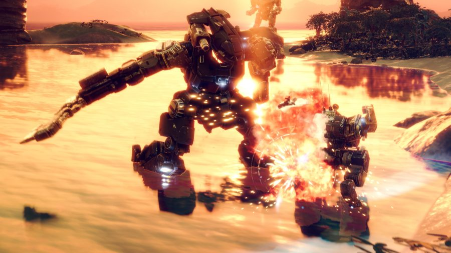 a mech slices through another, which explodes