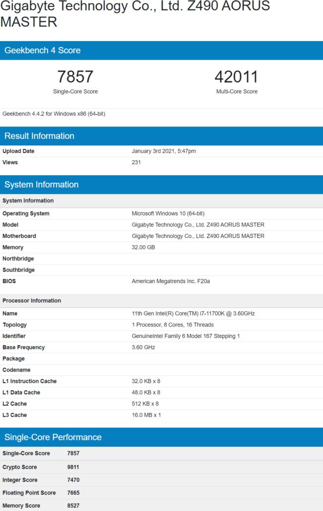 Intel Core i7-11700K 8-Kern-Rocket Lake Desktop-CPU-Benchmark Leak Geekbench _1