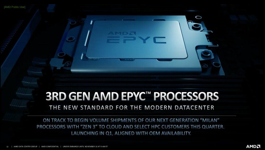 AMD 3rd Generation EPYC Milan 'EPYC 7643' CPU mit 48 Zen 3 Kernen und 3,45 GHz Boost Clocks Benchmarked