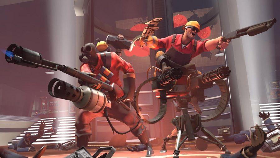 Der Pyro und der Ingenieur mähen Feinde in Team Fortress 2, einem der besten Multiplayer-Spiele