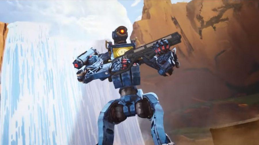 Pathfinder steht vor einem Wasserfall in Apex Legends, einem der besten Multiplayer-Spiele