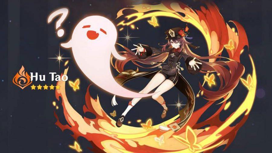 Hu Tao from Genshin Impact posing in a swirl of flame as a cartoon ghost emerges