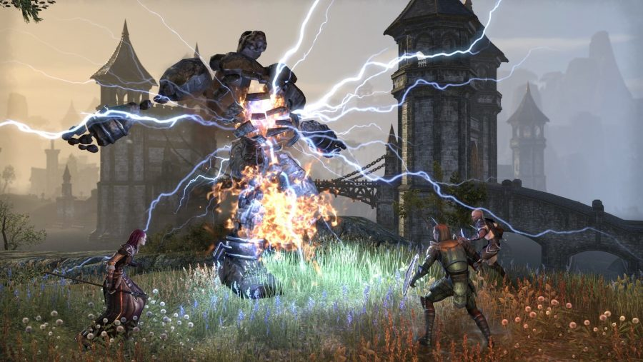 Electricity spews from a vanquished foe in one of the best MMOs, The Elder Scrolls Online
