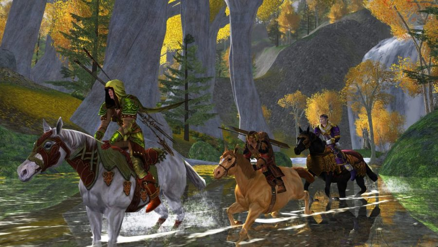 Three riders ford a river on horseback in Lord of the Rings Online, one of the best MMOs
