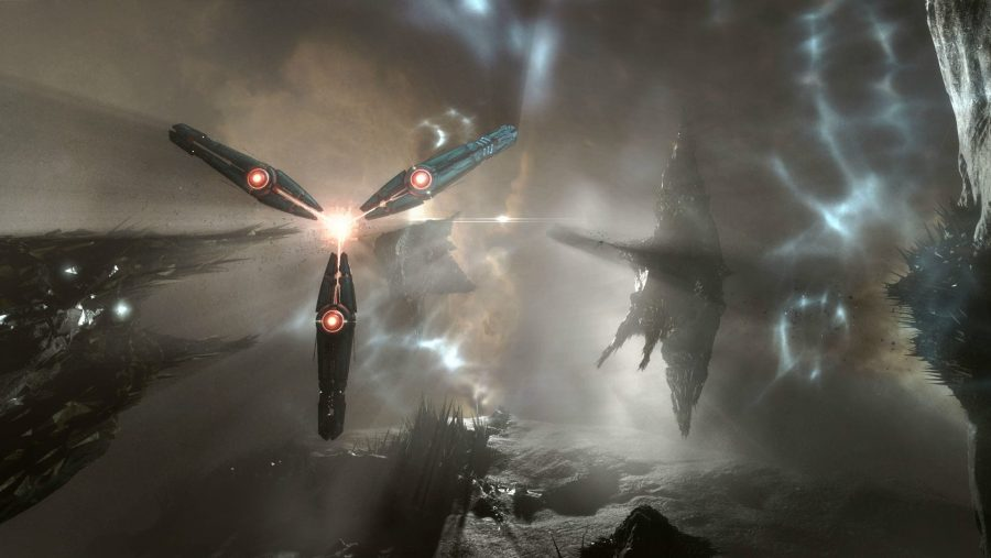 A ship in the beautiful ether of Eve Online, one of the best MMOs