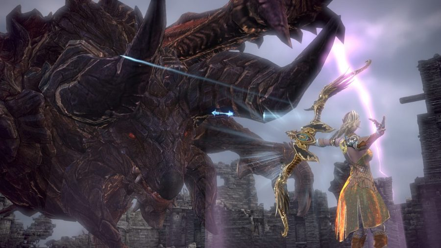 An archer takes aim at a huge beast in TERA, one of the best MMOs