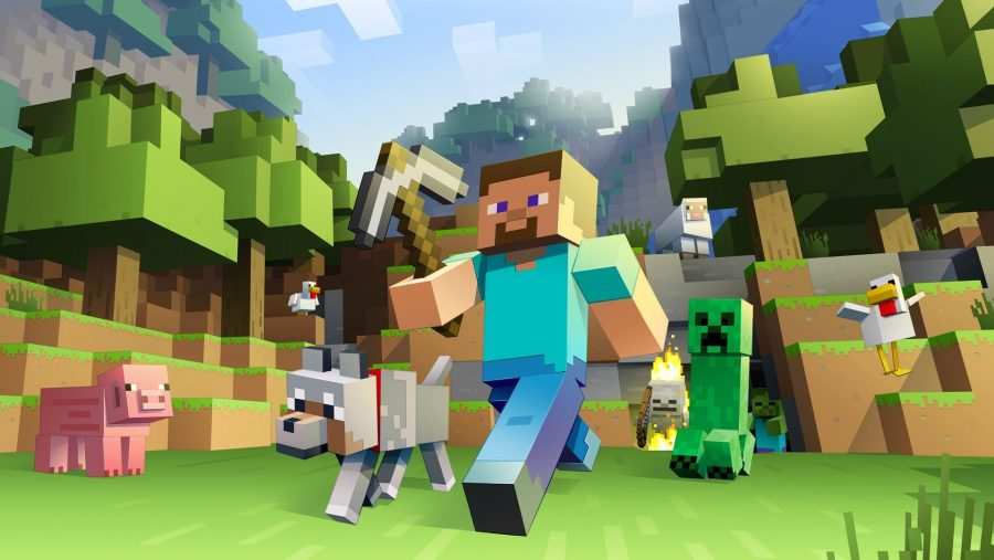Minecraft Steve strides boldly through the grass with his dog at his side, pursued by aggressive mobs and farm animals, in one of the best survival games, Minecraft.