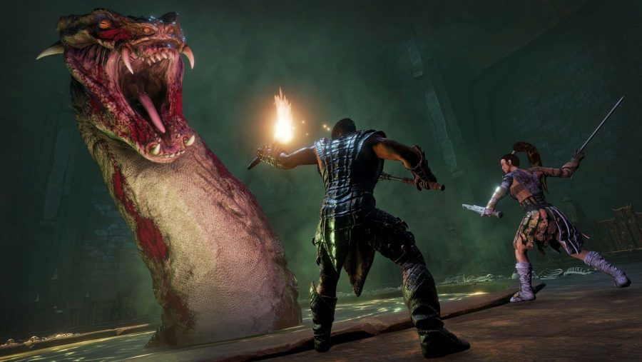 Two adventurers confront a terrifying lake serpent in one of the best survival games, Conan Exiles