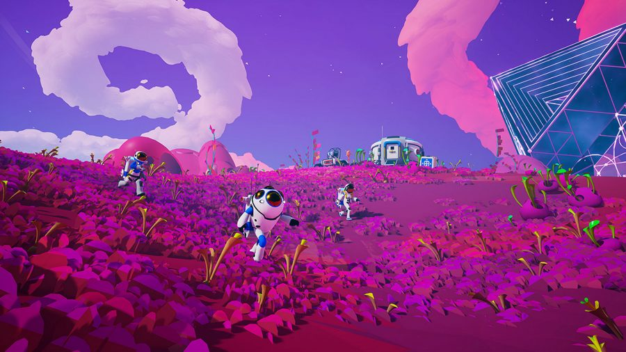 Players run through a vibrant pink landscape in Astroneer, one of the best survival games