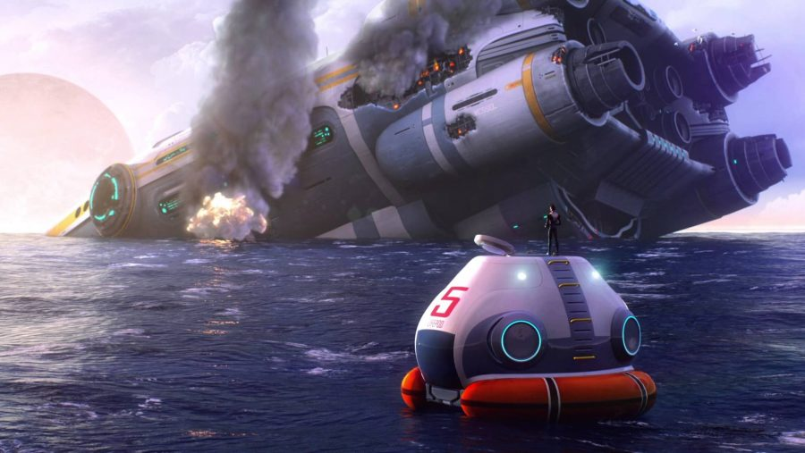 A huge spacecraft lies wrecked in the ocean in Subnautica, one of the best survival games