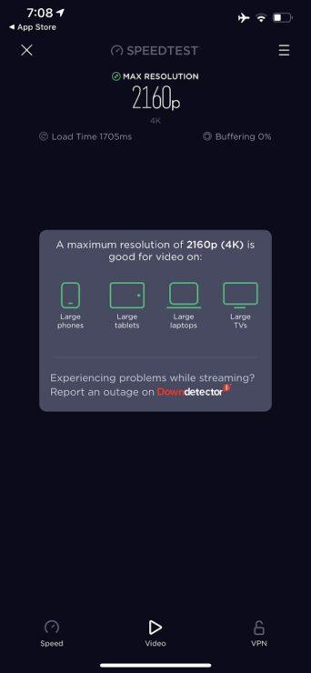 Ookla Speedtest Video-Streaming-Verbindung 2