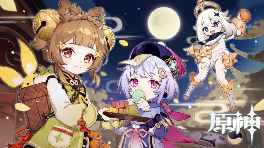 Genshin Impact Yaoyao sharing sweets with other characters during a festival
