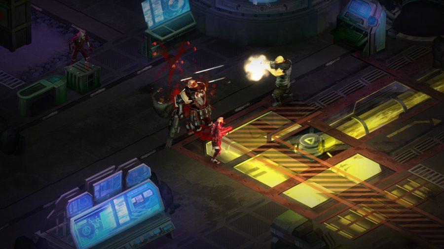 A gory gunfight in one of the best cyberpunk games, Shadowrun Dragonfall