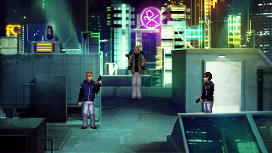 The trio of protagonists gather on a rooftop at night in one of the best cyberpunk games, Technobabylon