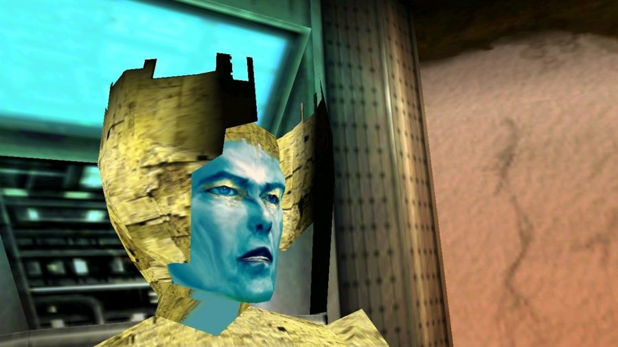Blue David Bowie (!) in Omikron: The Nomad Soul