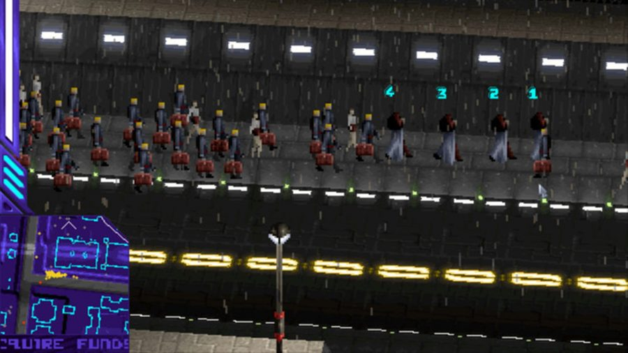 A fleet of workers with briefcases in Syndicate Wars, one of the best cyberpunk games