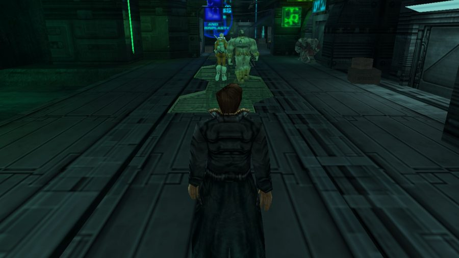 The protagonist makes his way down a dimly lit corridor in Anachronox, one of the best cyberpunk games