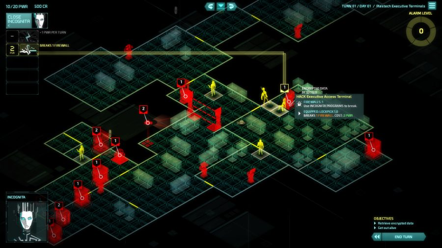 Controlling the assets in an x-ray tactical view in Invisible Inc, one of the best cyberpunk games