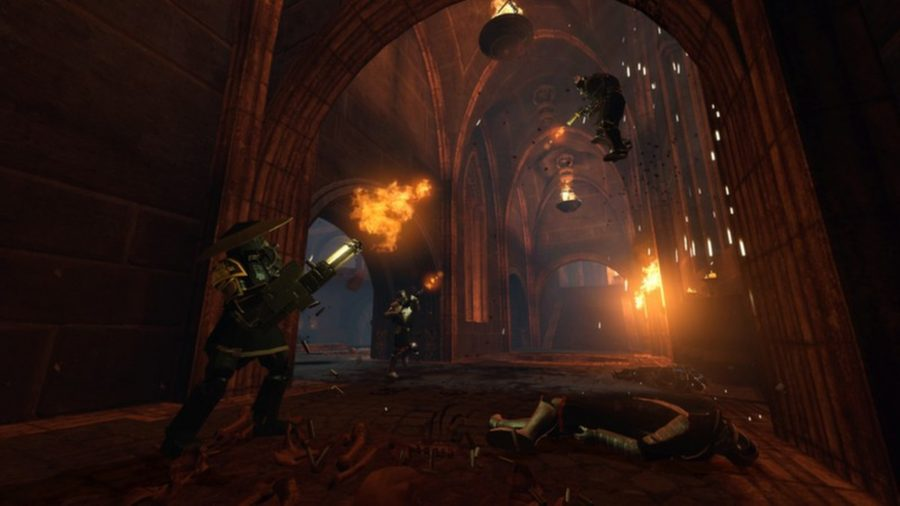 Flamethrowers in a church in one of the best cyberpunk games, EYE Divine Cybermancy