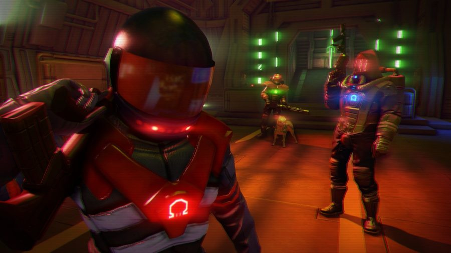 Three characters kitted out with neon trimmed space suits in one of the best cyberpunk games, Far Cry 3: Blood Dragon