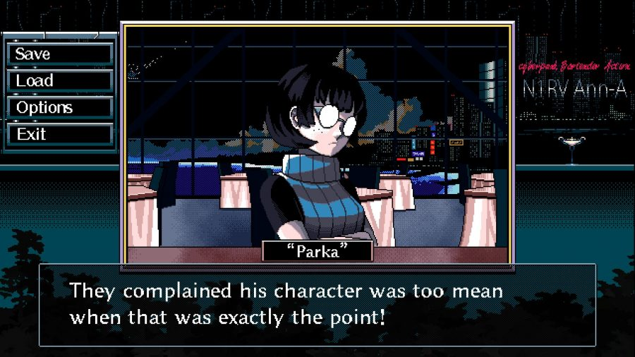A character called Parka crosses their arms impenetrably in one of the best cyberpunk games, N1rv Ann-a