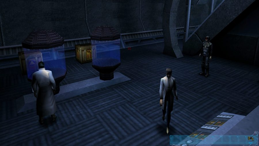 Scientists in a lab in Deus Ex, one of the best cyberpunk games