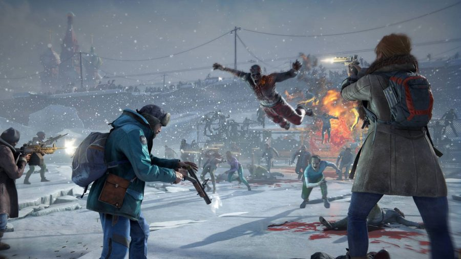A chaotic scene on a wintry battlefield in World War Z, one of the best zombie games