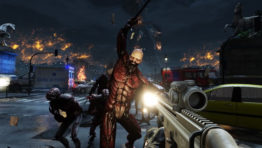 Shooting a zombie with great muscle definition in one of the best zombie games - Killing Floor 2