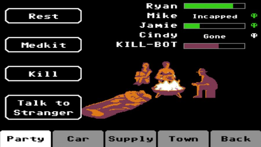 Your party members gather round the campfire in Organ Trail, one of the best zombie games.