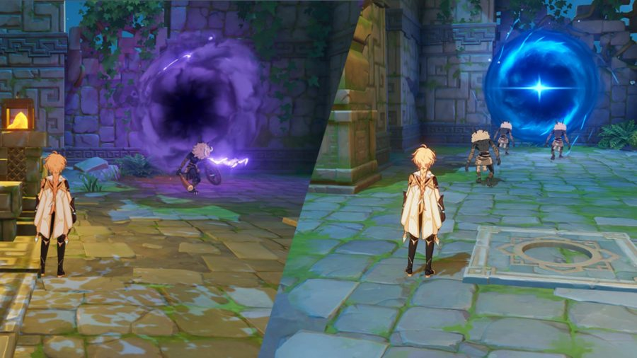 Feinde, die aus Portalen in Genshin Impact auftauchen und in diese entkommen