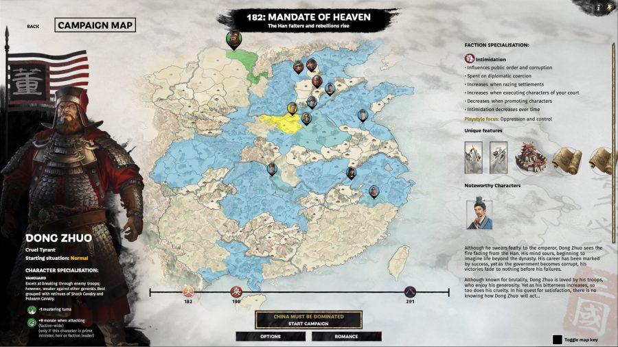 zeigt die Kampagnenauswahlkarte mit Dong Zhuo als aktueller Auswahl