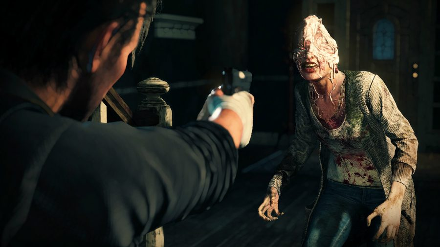A horrifying enemy in The Evil Within 2, one of the best horror games