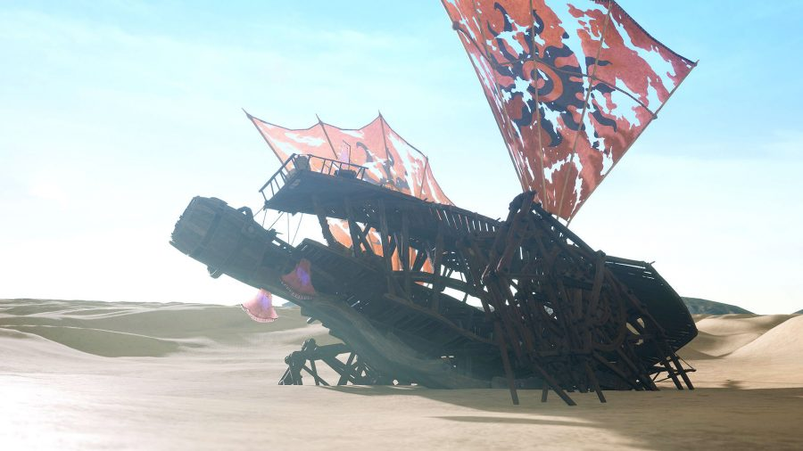 A ship in the desert with tattered sails, in one of the best new MMOs, Last Oasis