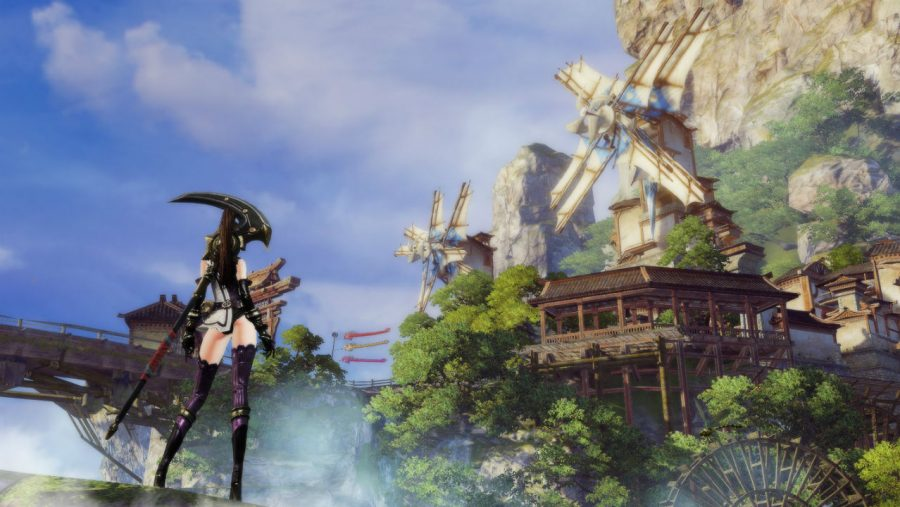 A lady with nice stockings surveys a windmill on the side of a mountain in Revelation Online, one of the best new MMOs