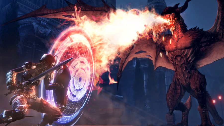 Flame leaps forth from a dragon's maw in Riders of Icarus, one of the best new MMOs