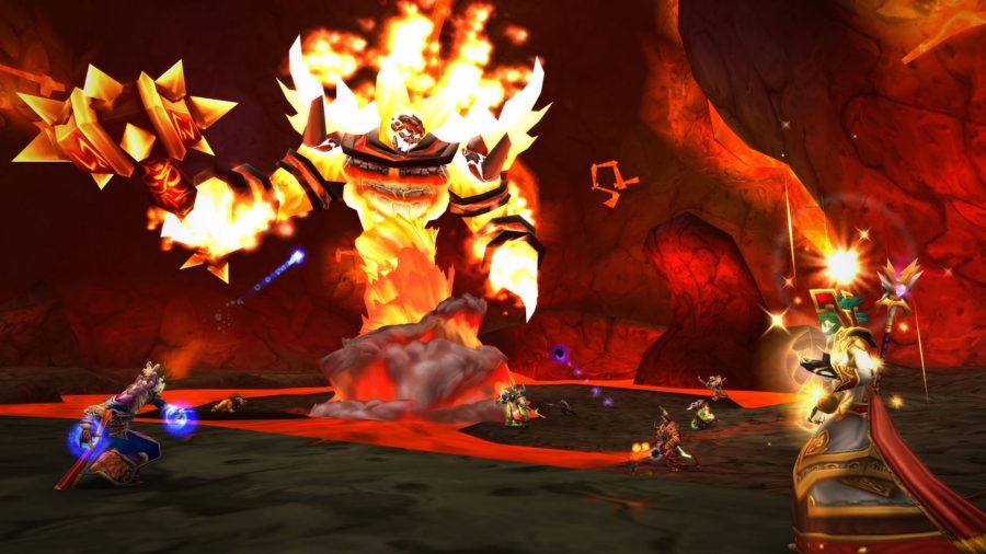 Taking on a boss in one of the best new MMOs, World of Warcraft Classic
