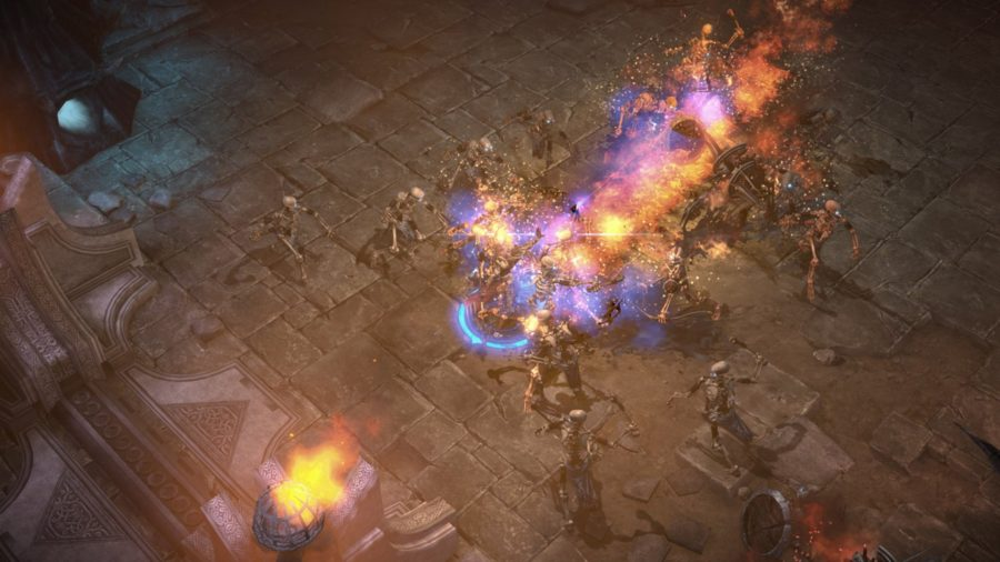 A character blasts through a mass of oncoming skeletons with a fireball in one of the best new MMOs, Mu Legends