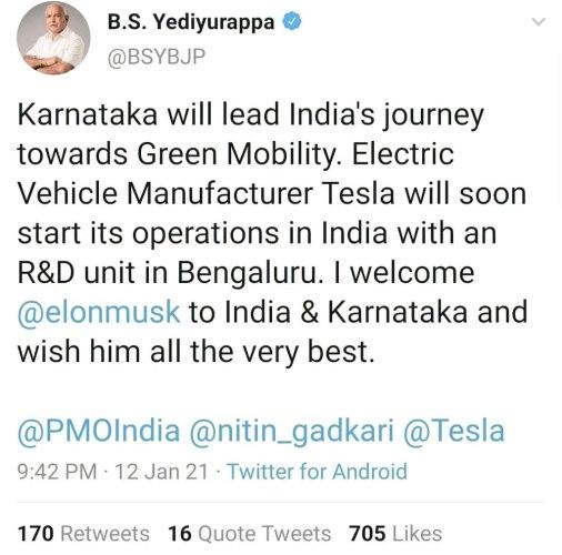 Tesla India Launch Tweet