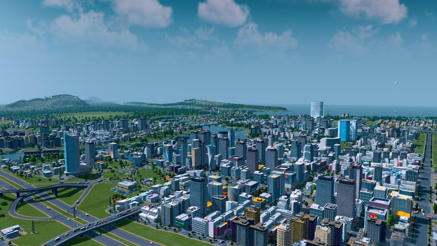 A well developed city in Cities Skylines, one of the best management games