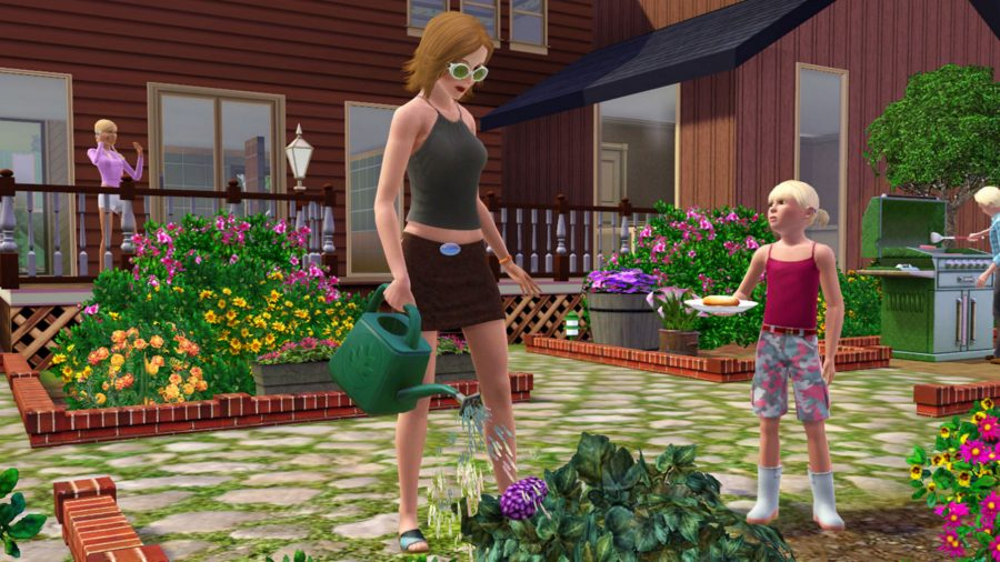 A sim waters her garden in the Sims 3, one of the best management games