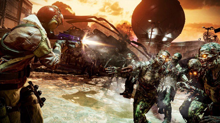 Ein Soldat, der mit einem lila Sturmgewehr bewaffnet ist und auf mehrere Zombies schießt