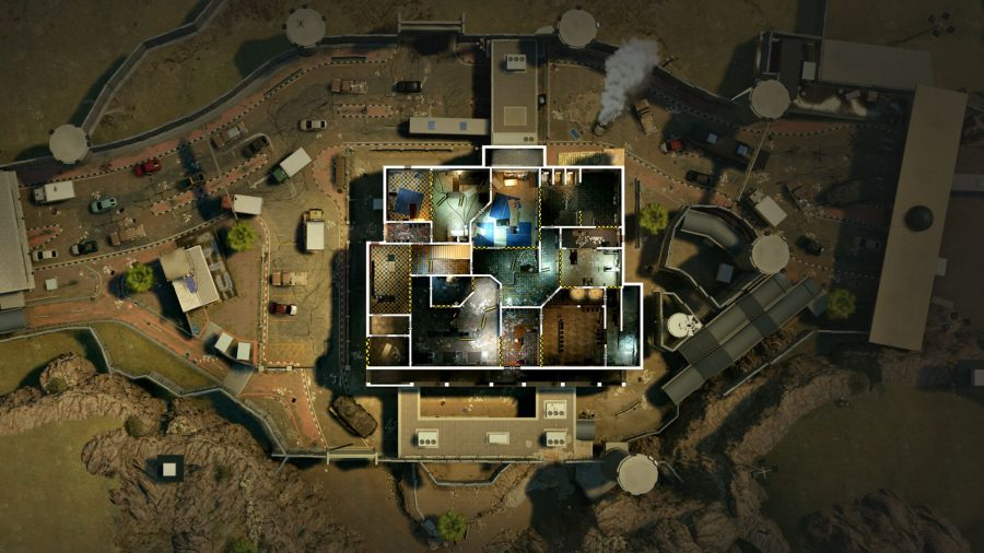 Eine Ansicht von oben nach unten der Änderungen an der Überarbeitung der Grenzkarte in Rainbow Six Siege Crimson Heist