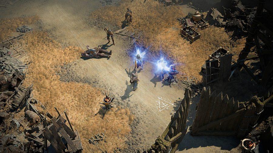 Diablo 4 Charaktere versammeln sich vor einem Tor