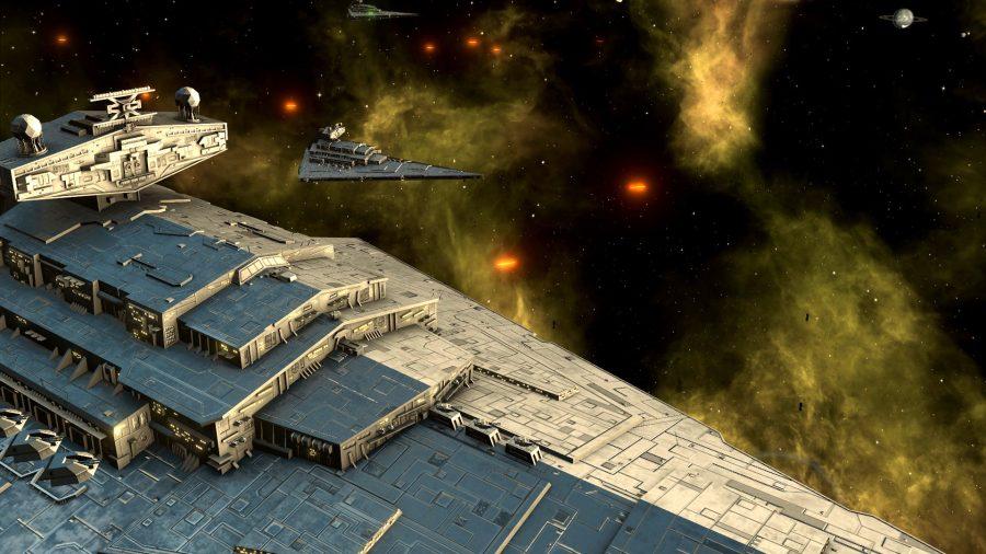 Ein Star Wars-Sternenzerstörer im Vordergrund, andere im Hintergrund. Laser feuern ab.