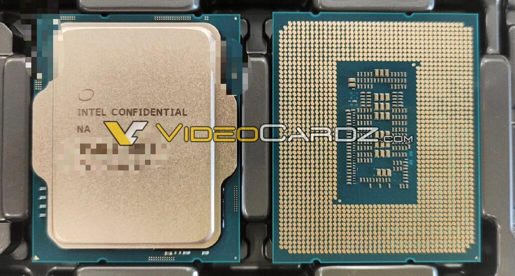 Ein Bild der Intel Alder Lake Desktop-CPU in einem Fach. (Bildnachweis: Videocardz)